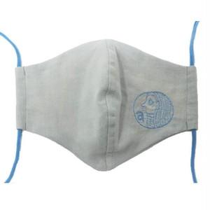 【マスク】アマビエ刺繍(ブルーグレー×ブルー)