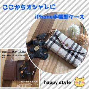 iPhone手帳型ケース★ブラックベアホルダー付き