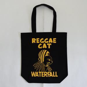 猫ツアートートバッグ「猫レゲエ」 レコードバッグ ブラック WATERFALLオリジナル 生産数量限定  F ※即納対応可能