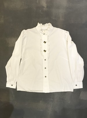 Tyrolean Frilled Embroidery Shirt [L-145]