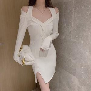【ワンピース】女性らしく魅力フェミニンファッション不規則透かし彫りセクシーニットワンピース37977345