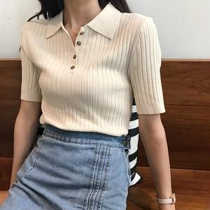 【トップス】学園風レトロ折り襟合わせやすいTシャツ