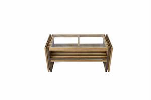 Villa Glass Low Table WB / 西海岸リゾートスタイル ヴィラ ガラスローテーブル / ウォールナットブラウン