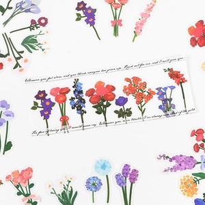 E05 フラワー ステッカー 全6種 植物 シール コラージュ 手帳 デコ PET素材 ほぼ日手帳 デコレーション