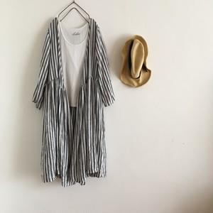stripe cache-coeur  one-piece    linen100%