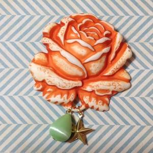 238 大きな薔薇の帯飾り (赤オレンジ)