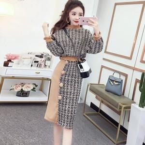 【セット】高級感ファッション配色セーター+スカートセットアップ25418115