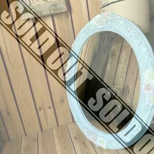 ≫80-90'sイタリアンヴィンテージ*古いパステルフラワーフレームウォールミラー76×64cm*大型花細工壁掛け鏡*特大*ビンテージアンティーク
