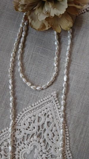 淡水パールバロック型ネックレス ショート ロング2本セット  (白)