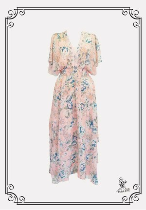 Resort Style Chiffon Dress / リゾート風花柄シフォンワンピース