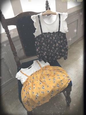 花柄シフォンキャミ重ね着風Tシャツ40492
