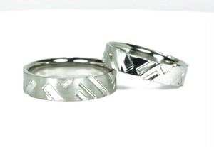 結婚指輪 格子柄【流れ】和柄のマリッジリング
