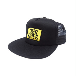 OUR LIFE - STACKED BARREL PATCH MESH CAP (Black)