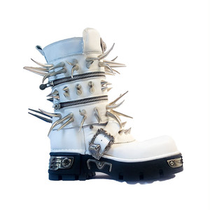 【MkF × Newrock】SPIKES BOOTS white