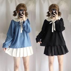 【トップス】日系無地春秋折り襟シンプルロング韓国系シャツ/ブラウス