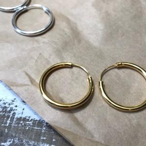 925silver & 925gold hoop ピアス/ゴールド