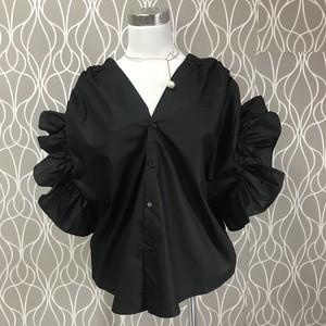 前後で着用できる♪美フォルム♪フリルシャツ Black