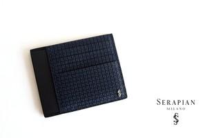 セラピアンミラノ Serapian  ステパンカードケース PVC型押し ネイビー