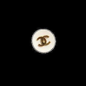 【VINTAGE CHANEL BUTTON】ホワイト ゴールドココマーク ボタン 14㎜ C-21030