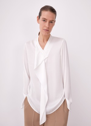 FLUID SHIRT WITH DRAPING NECKLINE