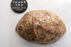 自家製手ごねハンバーグ(1個たっぷり約180g):国産牛肉と豚肉を使っています