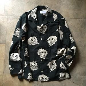 """Black Weirdos"" Skull Pattern Flannel Shirts ( Black / L )"