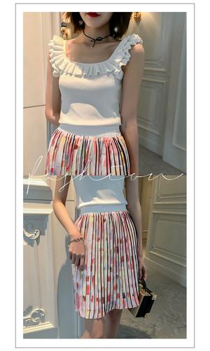 カラフルデザインプリーツスカート