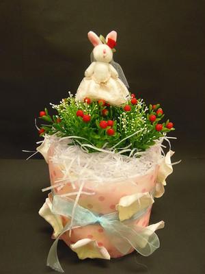 送料無料☆おむつケーキ1段「ピンク☆ラビット」直径25センチ