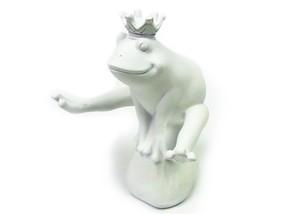 蛙の置物 ジャンプフロッグ 跳ぶ白い王冠カエル CV-KT-25-1902