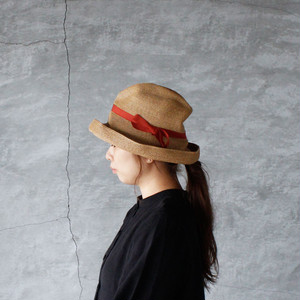 mature ha.(マチュアーハ)BOXED HAT 11cm brim mix brown × dark orange 送料無料