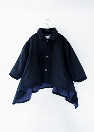 【20aw】ミチリコ(michirico) back freece  coat ブラック【S・M】コート