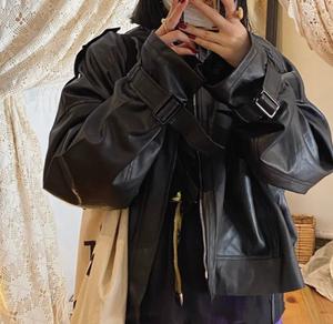 Big pocket faux leather jacket LD0207