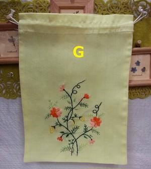 ベトナム雑貨PhiPhi・お土産・アジアンハンドメイド・刺繍巾着袋(中)