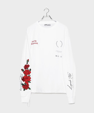 10th Special 3D Rose Embroidery Longsleeve T-shirt [White]