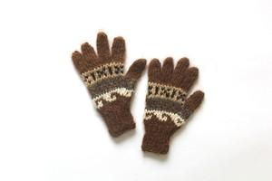 ペルー 手編みキッズ用 手ぶくろ brown