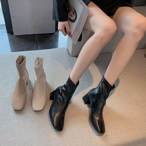 leather short boots 3color