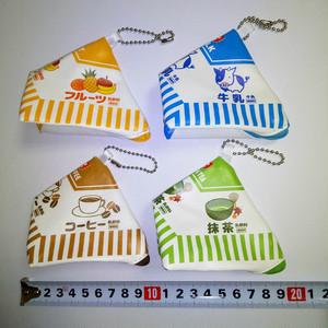 レア 乳製品三角パック型小物入れ(ストラップ付)4つセット