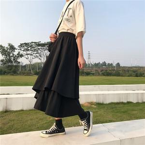ゴスロリ スカート ラップスカート フレアスカート アシンメトリー ロング丈 病み可愛い  韓国 オルチャン 原宿系 10代 20代