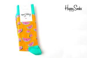 ハッピーソックス|happy socks|クルー丈カジュアルソックス|すいか柄|Watermelon|オレンジ