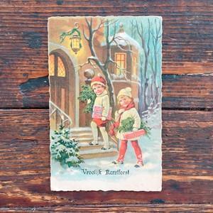 Antique christmas postcard Vroolijk Rerslfeesl