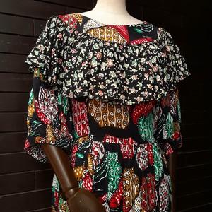 80's multi patterned frill dress 80年代総柄フリルワンピース