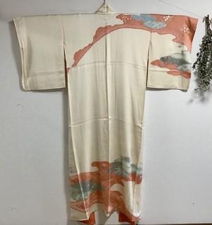 ふくよかサイズ 訪問着 綸子絞り染 金彩 京手刺繍