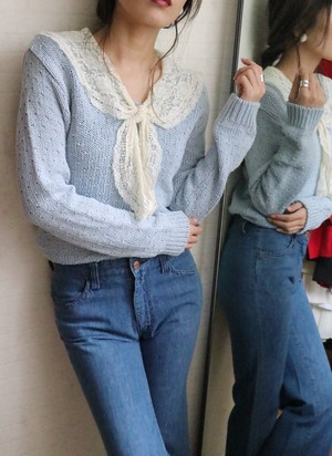 skyblue lace ribbon spring knit
