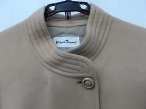 Viva Time ラム30%混 ウールハーフコート セミロング ベージュ系 スタンドカラー 9ARサイズ 着丈約85★古着 レディース 良品