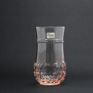 DEAD STOCK!昭和レトロ TOYOGLASS(東洋ガラス) ハート グラス ピンクガラス ラベル付き (552)