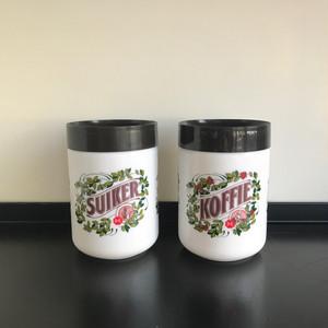 """Set of 2 """"Douwe Egberts"""" Vintage Jars Koffie & Suiker 70's オランダ"""