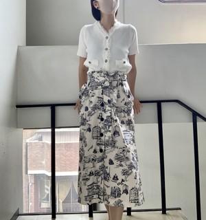 【RIANI】フロントボタンプリントスカート (031-138)