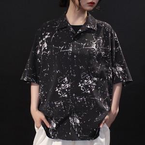 random paint art print design open-collar shirt