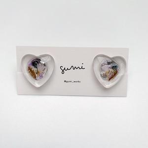 【earring】glass heart / D