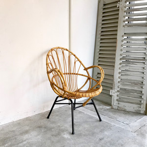 """""""Rohé"""" Rattan Lounge Arm Chair 1960's オランダ A"""